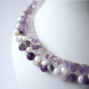 Amethyst and Fresh Water Pearl and Silver Wire Twisted Collar