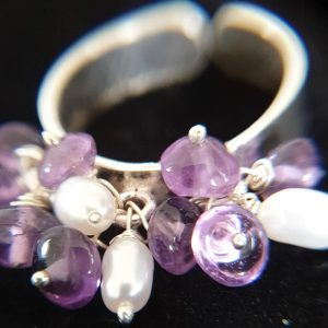 Adjustable Silver Ring with Amethyst and Fresh Water Pearls