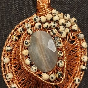 Wire Wraapped coated Copper Wire With Agate and Dalmation Jasper Pendant