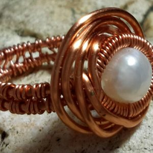 Coated Copper Wire Wrapped Ring with Pearl