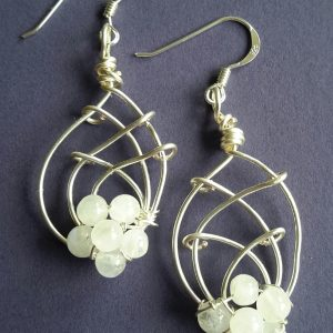 Silver and Moonstone Earrings and Sterling Silver Shepherds Hooksr