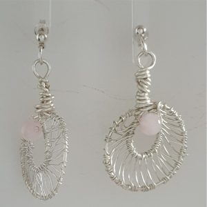 Coated Silver Plated Wire Wrapped Rose Quartz Earrings on Post Findings