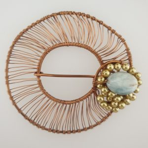 Coated Bronze Wire Wrapped Scarf Ring with Aquamarine and Gold Coloured Shell Pearls