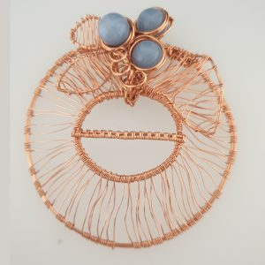 Coated Copper Wire Wrapped Scarf Ring with Blue Chalcedony
