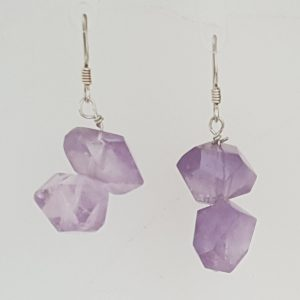Faceted Amethyst Drop Earrings with Shepherd Hooks