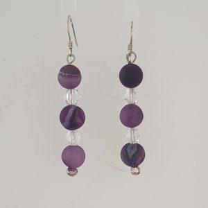 Purple Druzy and Bicone Clear Quartz Drop Earrings with Sterling Silver Shepherd Hooks