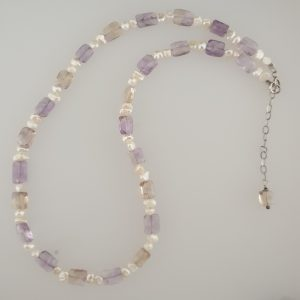 Ametrine and Fresh Water Pearl Necklce with Sterling Silver Chain and Fastening