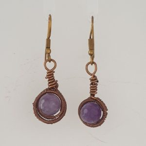 Coated Brozw Wire Wrapped Lavender Amethyst Drop Earrings with Shepherds Hook Findings