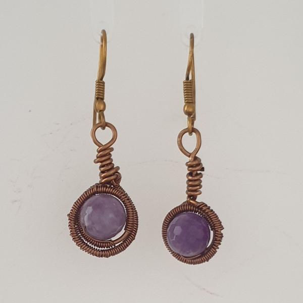 Coated Brozw Wire Wrapped Lavender Amethyst Drop Earrings with Shepherds Hook Findings