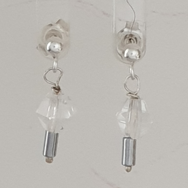 Clear Quartz Bicones and Hematite Earrings with Post Findings