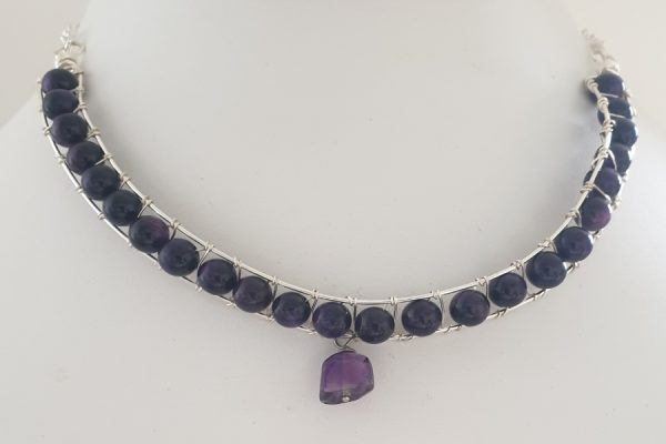 Amethyst Channel Set Half Collar Necklace with Faceted Drop Amethyst and Coated Silver Plated Wire
