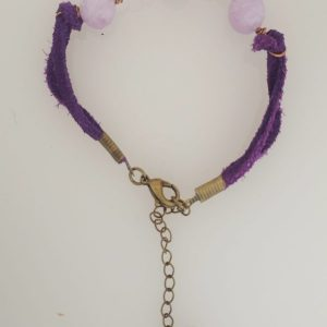 Leather Lavender Amethyst and Coated Bronze Wire Bracelet