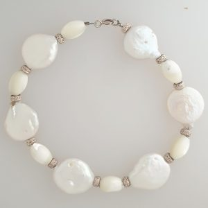 Pearl and Mother of Pearl Bracelet with silver and Crystal Spacers and Sterling Silver Bolt Ring Fastening