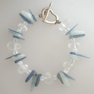 Blue Kunzite and Clear Quartz Bracelet with T Bar Fastening