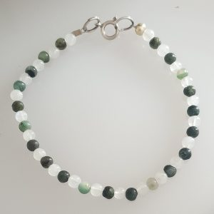 Emerald and Moonstone Bracelet with Sterling Silver Bolt Ring Fastening
