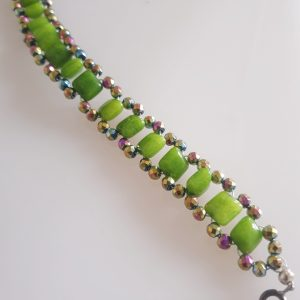 Green Quartzite and Multicoloured Coated Hematite Macrame Woven Bracelet with Bolt Ring Fastening