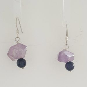 Amethyst Drop Earrings with Silver Plated Shepherd Hooks