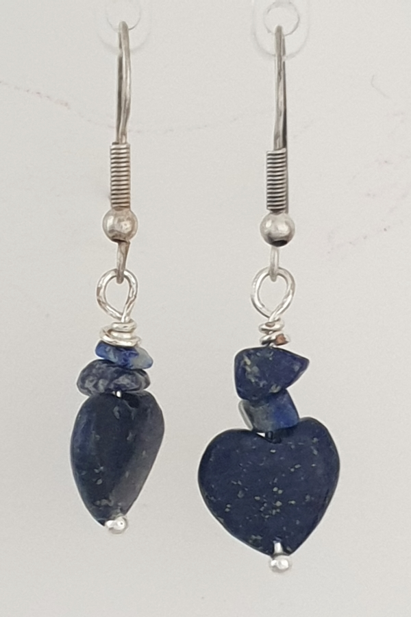 Lapis Lazuli Heart and Lapis Lazuli Chip Drop Earrings with Siver Plated Hooks