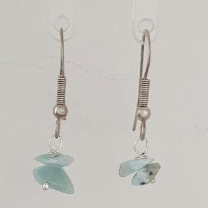 Larimar Chip Drop Earrings with Sterling Silver Shepherds Hooks