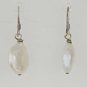 Single Peal Drop Earrings withSterling Silver Shepherd Hooks