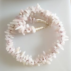 Pink Kunzite Chip Kumahimo Woven Necklace with Bolt Ring Fastening