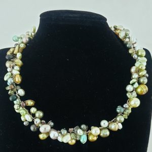 Assorted Green Tone Pearls in a Twisted Collar Necklace