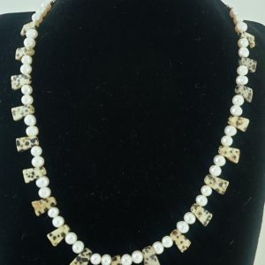 Dalmation Jasper and Pearl Necklace