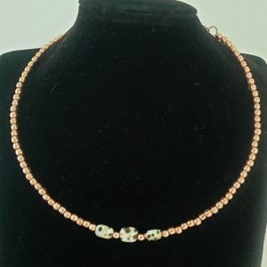 Dalmation Jasper and Rose Gold Coloured Bead Collar Necklace