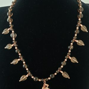 Smokey Quartz and Smokey Quartz Carved Leaf Necklace with Rose Gold coated Sterling Silver Findings