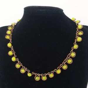 Lemon Quartz Necklace with Handmade Coated Bronze Wire Wrapped Links