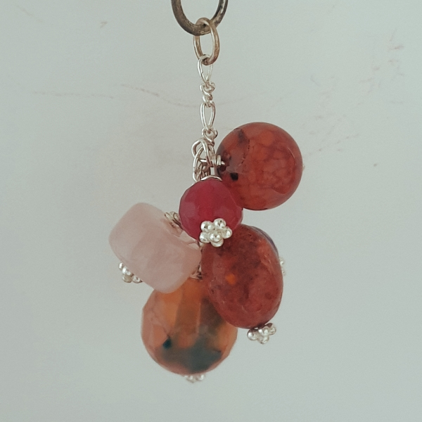 Zip/Bag Clip with assorted Gemstone Cluster in Pink Shades
